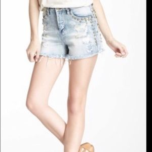 BlankNYC Distressed High Rise Studded Jean Shorts